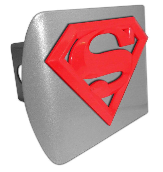 Superman Red 3D Brushed Chrome Hitch Cover - Chrome Car Emblems | Trailer Hitch Covers/DC Comics Emblems - I AmEricas Flags