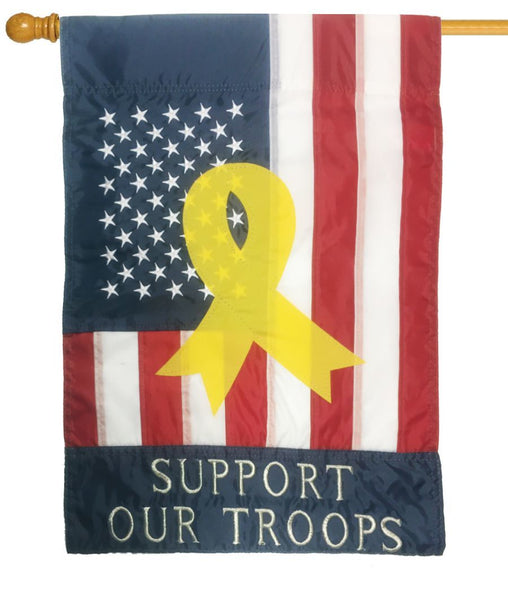Support Our Troops Applique House Flag