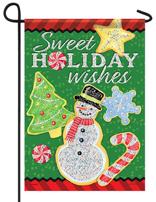 Sweet Holiday Wishes Glitter Garden Flag