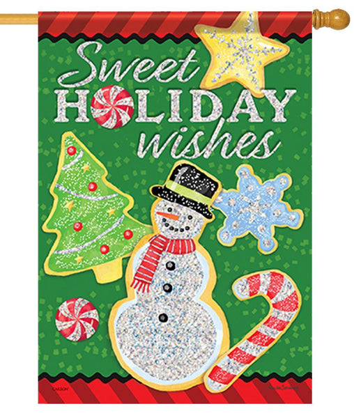Sweet Holiday Wishes House Flag - I AmEricas Flags