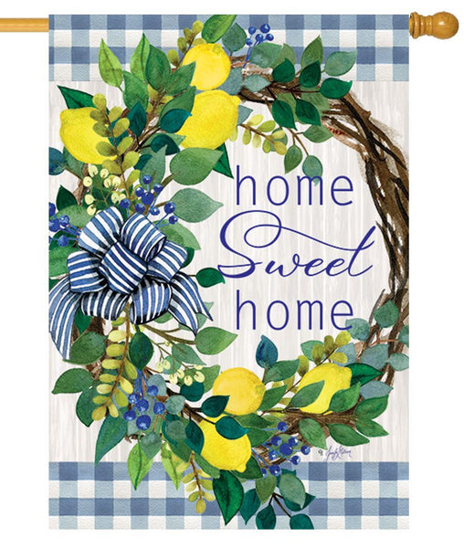Sweet Home Lemon Wreath House Flag - I AmEricas Flags