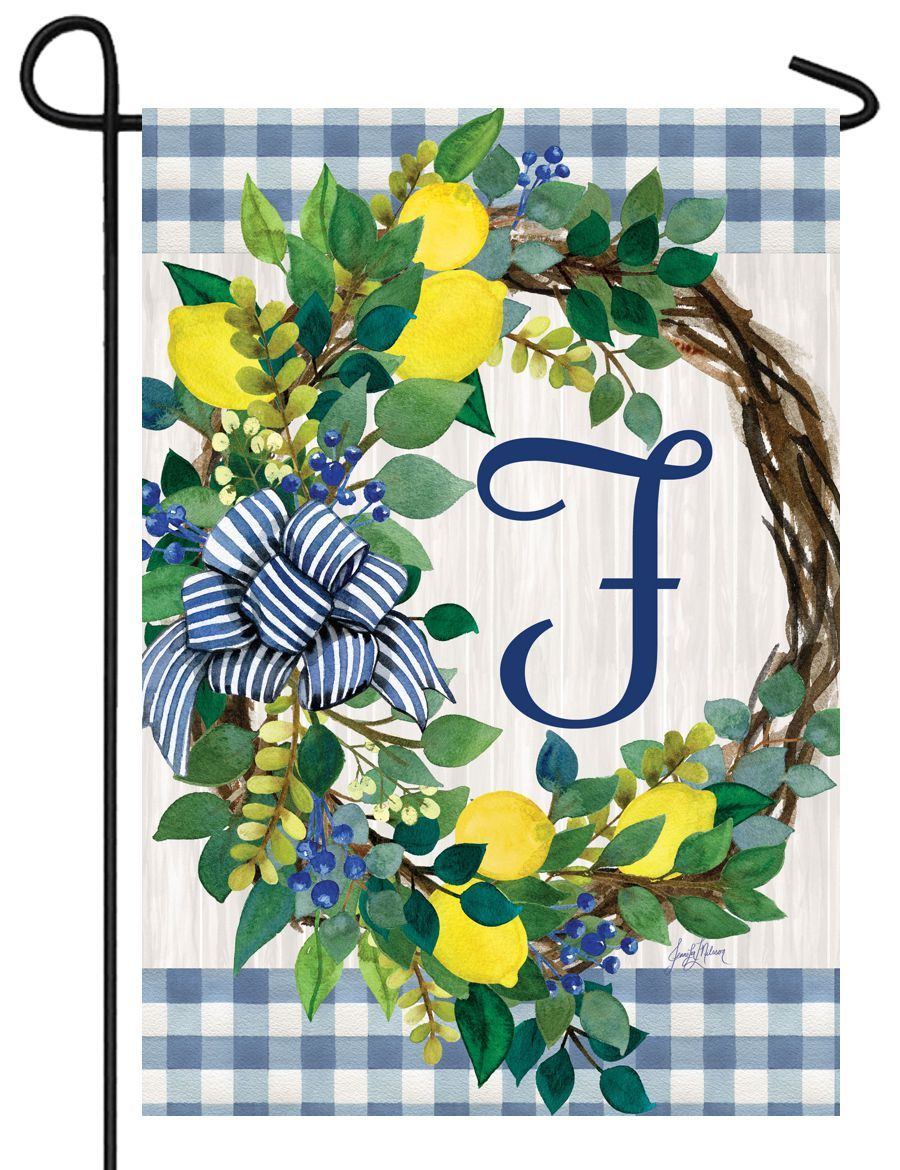 Sweet Home Lemon Wreath Letter F Monogram Garden Flag