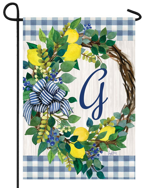Sweet Home Lemon Wreath Letter G Monogram Garden Flag