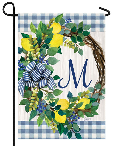 Sweet Home Lemon Wreath Letter M Monogram Garden Flag - I AmEricas Flags