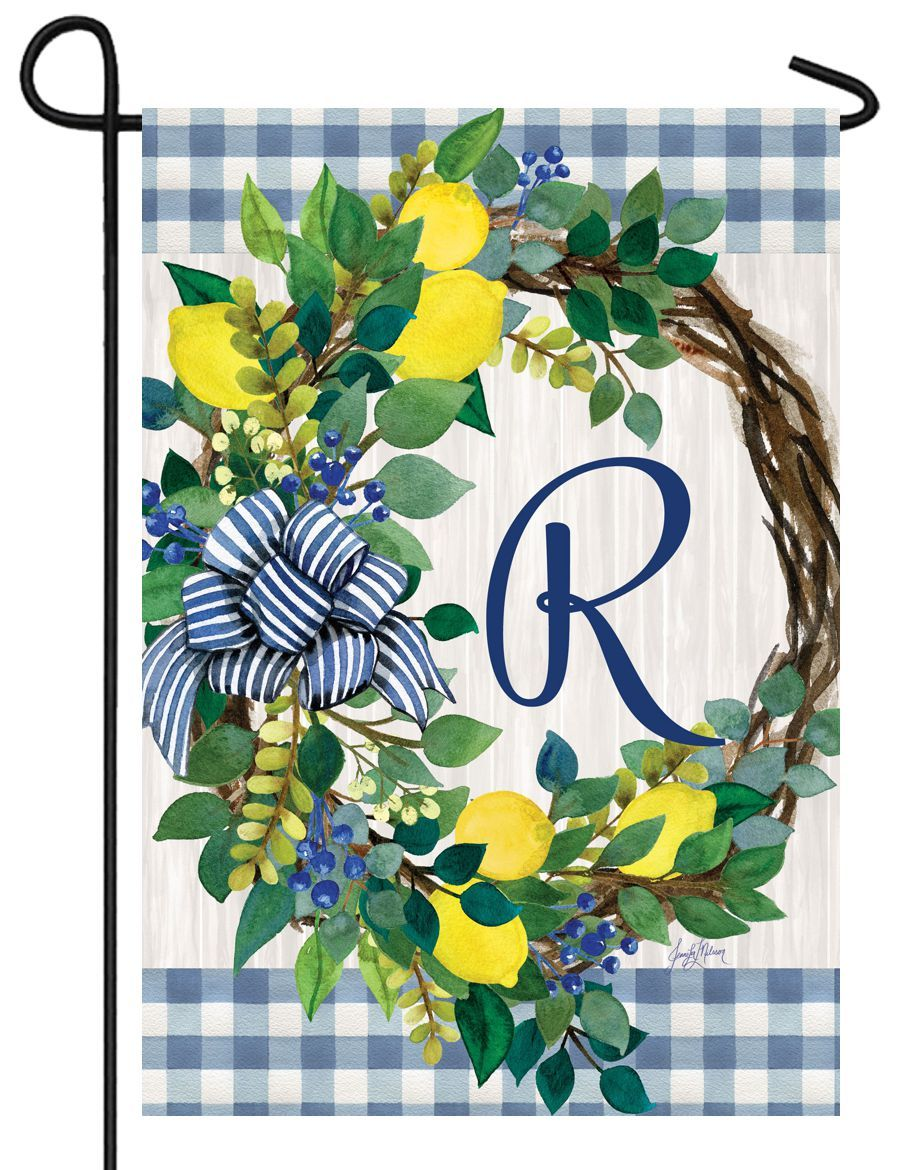 Sweet Home Lemon Wreath Letter R Monogram Garden Flag - I AmEricas Flags