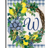 Sweet Home Lemon Wreath Letter W Monogram Garden Flag