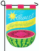 Sweet Summer Watermelon Double Applique Garden Flag