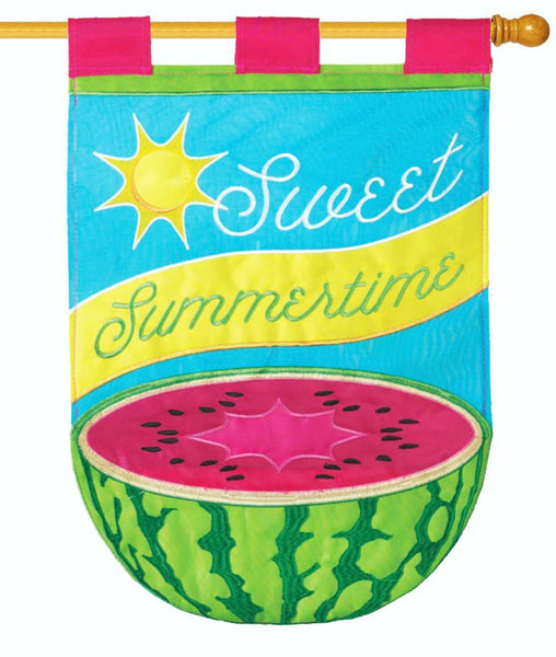 Sweet Summer Watermelon Double Applique House Flag