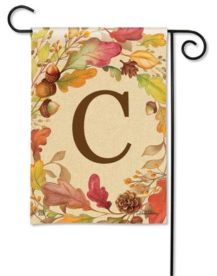 Swirling Fall Leaves Monogram C Garden Flag