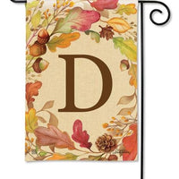 Swirling Fall Leaves Monogram D Garden Flag