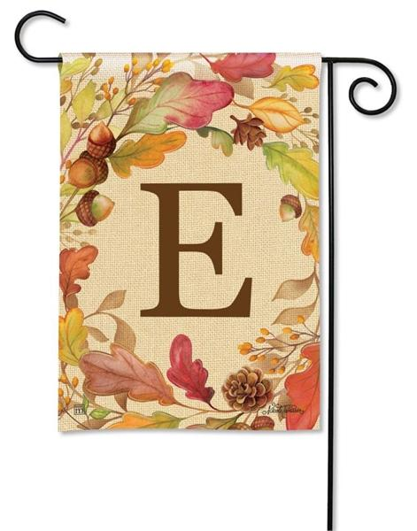 Swirling Fall Leaves Monogram E Garden Flag