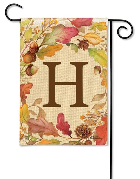 Swirling Fall Leaves Monogram H Garden Flag