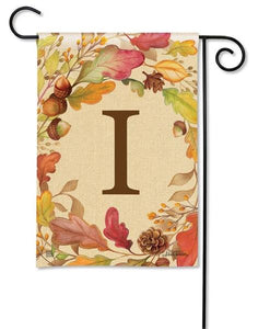 Swirling Fall Leaves Monogram I Garden Flag