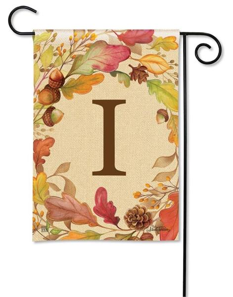 Swirling Fall Leaves Monogram I Garden Flag - I AmEricas Flags