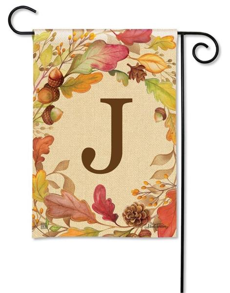 Swirling Fall Leaves Monogram J Garden Flag