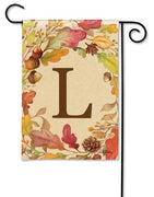 Swirling Fall Leaves Monogram L Garden Flag