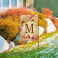 Swirling Fall Leaves Monogram M Garden Flag Live