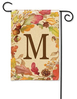 Swirling Fall Leaves Monogram M Garden Flag