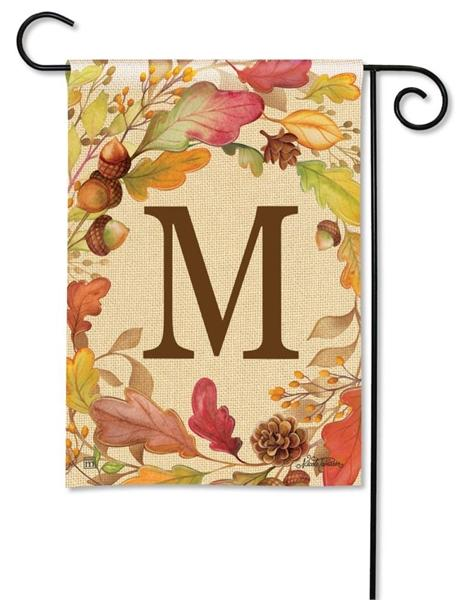 Swirling Fall Leaves Monogram M Garden Flag - I AmEricas Flags