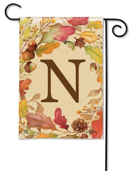 Swirling Fall Leaves Monogram N Garden Flag