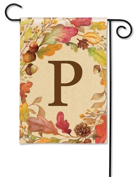 Swirling Fall Leaves Monogram P Garden Flag