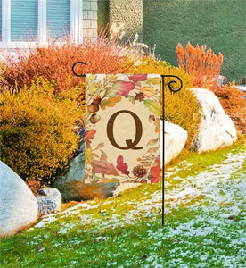 Swirling Fall Leaves Monogram Q Garden Flag Live