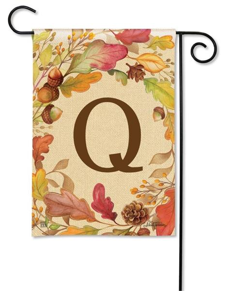 Swirling Fall Leaves Monogram Q Garden Flag