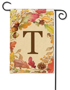 Swirling Fall Leaves Monogram T Garden Flag