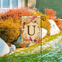 Swirling Fall Leaves Monogram U Garden Flag Detail