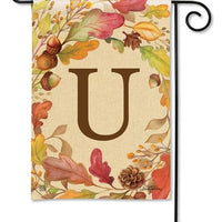 Swirling Fall Leaves Monogram U Garden Flag
