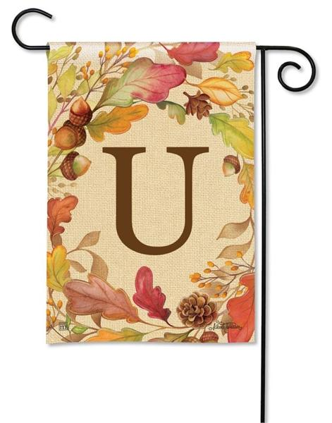 Swirling Fall Leaves Monogram U Garden Flag - I AmEricas Flags