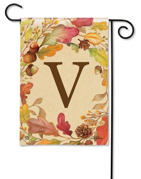 Swirling Fall Leaves Monogram V Garden Flag