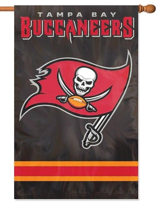Tampa Bay Buccaneers Two Sided Embroidered Black Nylon House Flag