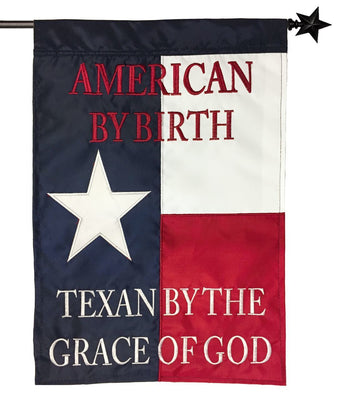 Texan by the Grace of God Double Applique House Flag