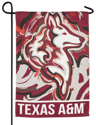 Texas A&M Whimsical Mascot Suede Reflections Garden Flag