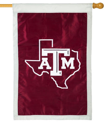 Texas A&M State Shape Applique House Flag