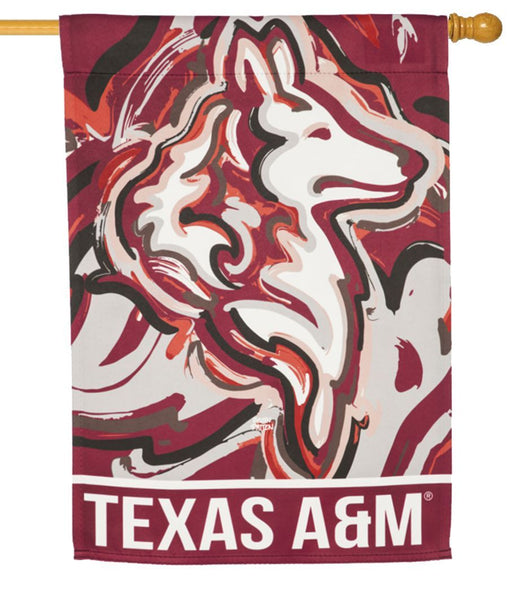 Texas A&M Whimsical Mascot Suede Reflections House Flag