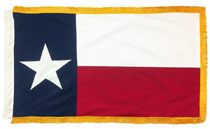 Sewn Cotton 3x5 Texas Flag with Gold Fringe