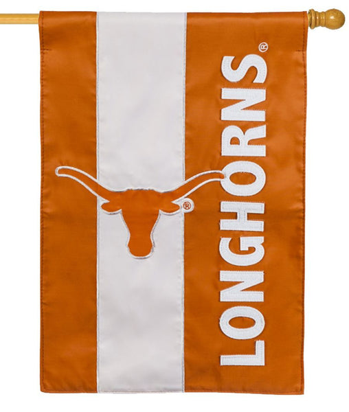 Texas Longhorns Embellished Applique House Flag