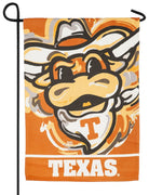 Texas Longhorns Whimsical Mascot Suede Reflections Garden Flag