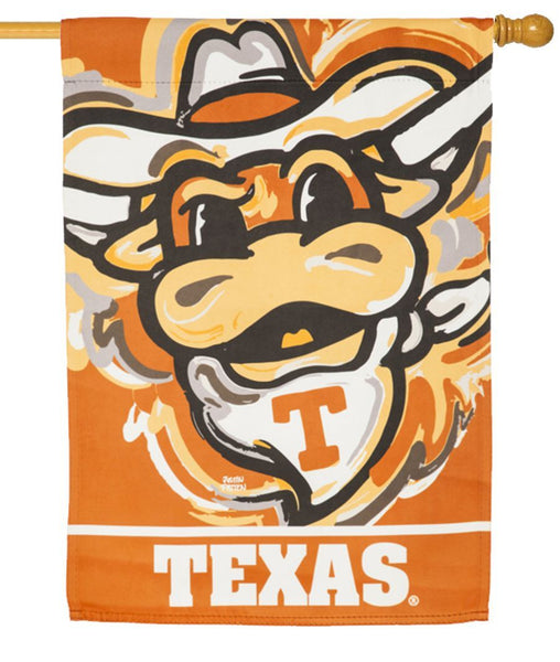 Texas Longhorns Whimsical Mascot Suede Reflections House Flag