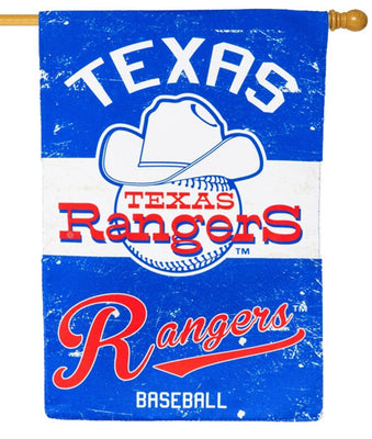 Texas Rangers Vintage Linen Decorative House Flag