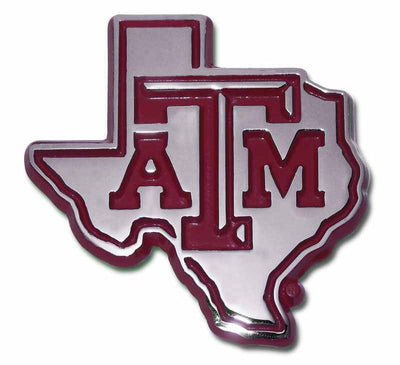 Texas A&M University State Shaped Chrome and Maroon Car Emblem