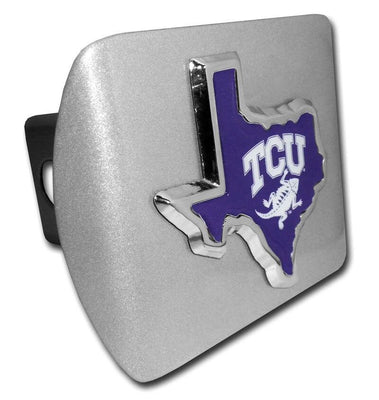 Texas Christian University Purple State Shape Brushed Chrome Hitch Cover