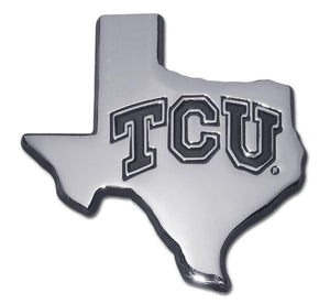 Texas Christian University State Shaped Chrome Car Emblem - Chrome Car Emblems | Trailer Hitch Covers/Collegiate Car Emblems/Texas Christian University - I AmEricas Flags