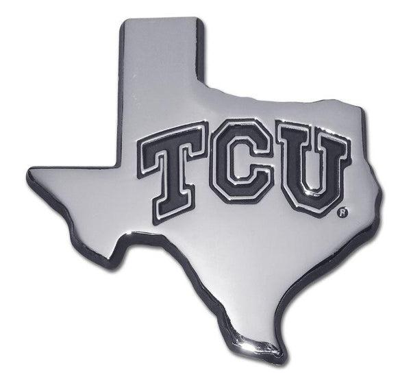 Texas Christian University State Shaped Chrome Car Emblem
