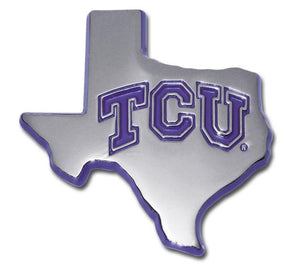 Texas Christian University State Shaped Chrome with Purple Car Emblem