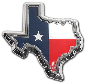 Texas Shape Chrome and Color Car Emblem
