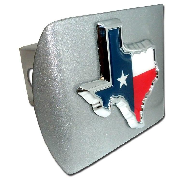 Texas State Shape with Color Brushed Chrome Hitch Cover
