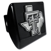 Texas Tech University Chrome State Shaped Black Hitch Cover